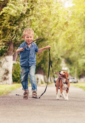 Chlapec so šteniatkom bígla